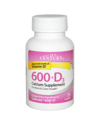 Calcium Supplement 600 + D3 75 Caplets 21st Century Healthcare