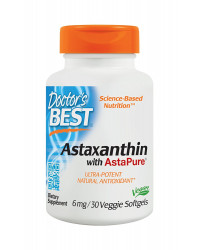 Astaxanthin With AstaPure 6 mg 30 Veggie Softgels | Doctor`s Best
