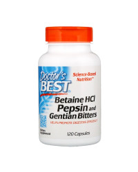 Betaine HCL Pepsin and Gentian Bitters 120 capsules | Doctor`s Best