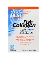 Fish Collagen With TruMarine Collagen 30 Powder Stick Packs Doctor`s Best