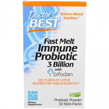 Fast Melt Immune Probiotic 3 Billion with Bifodan 30 Stick Packs Doctor`s Best