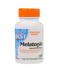 Melatonin Natural Mint Flavor 5 mg 120 Chewable Tablets Doctor`s Best