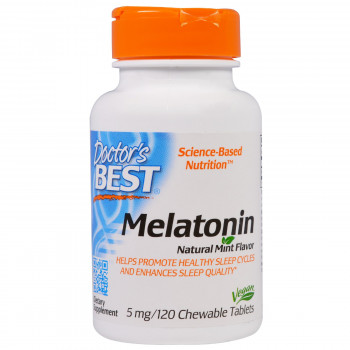 Melatonin Natural Mint Flavor 5 мг 120 дъвчащи таблетки | Doctor's Best