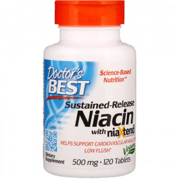 Sustained-Release Niacin with niaXtend 500 мг 120 таблетки | Doctor's Best