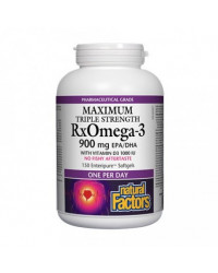 Maximum Triple Strength Rx Omega-3 900 mg 150 Softgels Natural Factors