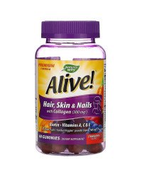 Alive Hair Skin & Nails with Collagen 60 Gummies | Nature's Way