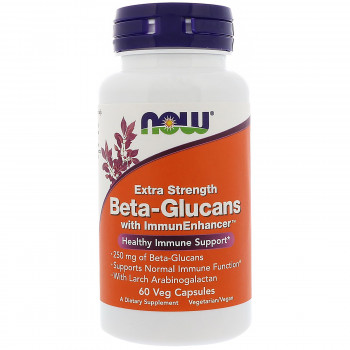 Beta 1.3/1.6 Glucan Extra Strength 250 мг 60 капсули | Now Foods