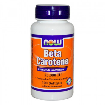 Beta Carotene 25,000 IU 100 дражета | Now Foods