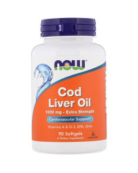 Cod Liver Oil 1000 мг 90 гел капсули | Now Foods