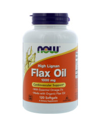 Ленено Масло (High Lignan Flax Seed Oil) 1000мг/120 к | Now Foods