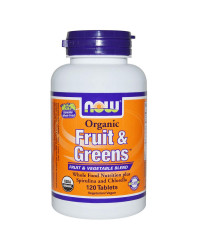 Fruit & Greens Organic 1000 мг 120 таблетки | Now Foods