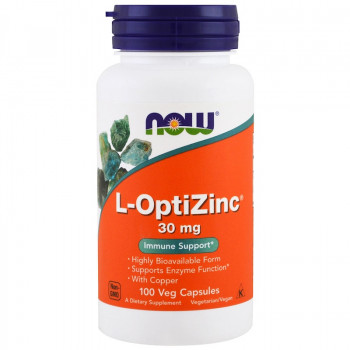 L-OptiZinc (Цинк) 30 мг / 100 капсули | Now Foods