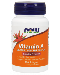 Vitamin A (25,000IU) 100 гел-капсули I Now Foods