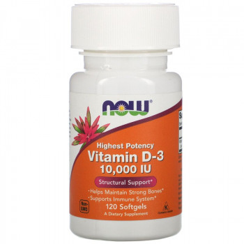 Vitamin D-3 10,000 IU 120 гел-капсули | Now Foods