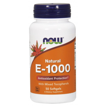 Vitamin Е-1000 Mixed Tocopherols 50 дражета | Now Foods