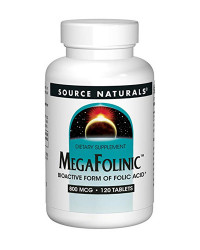 MegaFolinic 800 mcg 120 Tablets | Source Naturals