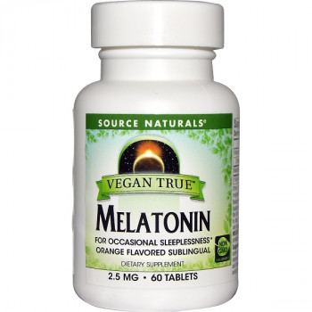 Vegan True Melatonin Orange 2.5 mg 60 Tablets Source Naturals