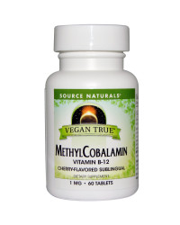 Vegan True MethylCobalamin 1 mg 60 Sublingual Tablets Source Naturals
