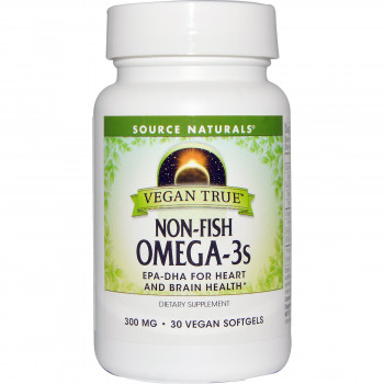 Vegan True Non-Fish Omega-3s 300 mg 30 Vegan Softgels Source Naturals