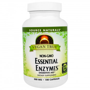 Vegan True Non-GMO Essential Enzymes 500 mg 180 Capsules Source Naturals