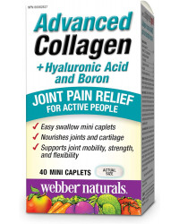Advanced Collagen + Hyaluronic Acid and Boron 40 мини каплети | Webber Naturals