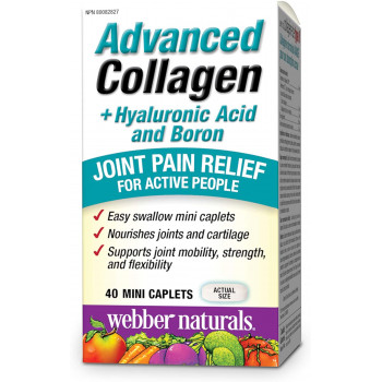 Advanced Collagen + Hyaluronic Acid and Boron 40 мини каплети   Webber Naturals