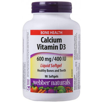 Calcium 600 mg Plus Vitamin D3 400 IU 90 гел-капсули | Webber Naturals