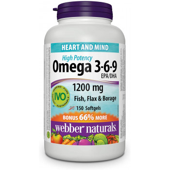 High Potency Omega-3-6-9 1200 мг 150 гел-капсули | Webber Naturals